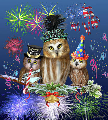 Digital Art - Happy New Year From Owl Of Us by Glenn Holbrook