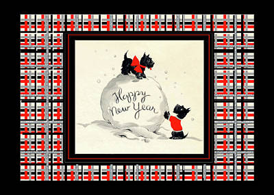 Digital Art - Happy New Year Scottish Terriers by Denise Beverly