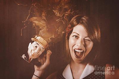 Beer Photos - Happy Oktoberfest woman making a stein beer splash by Jorgo Photography - Wall Art Gallery
