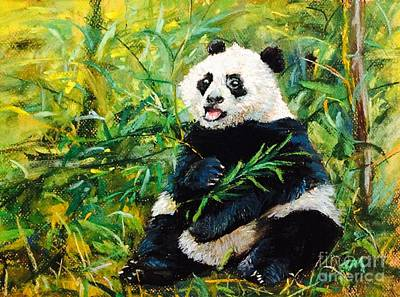 Mixed Media - Happy Panda by Jieming Wang