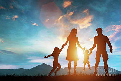 Photograph - Happy Parents Playing With Their Children. by Michal Bednarek