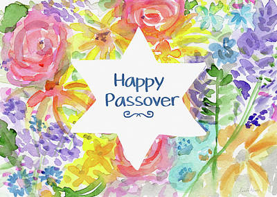 Happy Passover Floral- Art By Linda Woods Art Print by Linda Woods