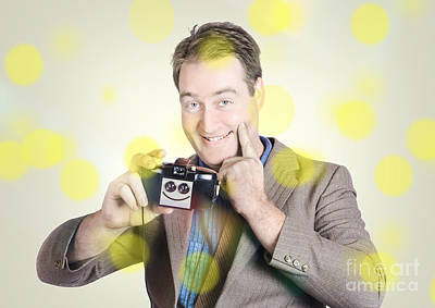 Positivity Photograph - Happy Photographer Man Holding Camera With Smile by Jorgo Photography - Wall Art Gallery