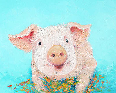 Baby Pigs Wall Art - Painting - Happy Pig by Jan Matson