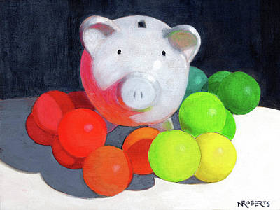 Painting - Happy Pig by Nancy Roberts