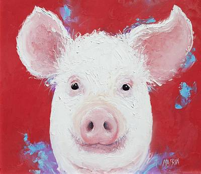Pink Pigs Painting - Happy Pig Painting  by Jan Matson