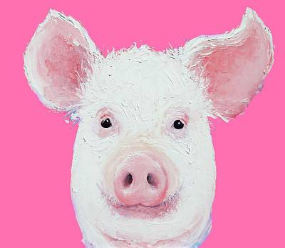 Pink Pigs Painting - Happy Pig Portrait by Jan Matson
