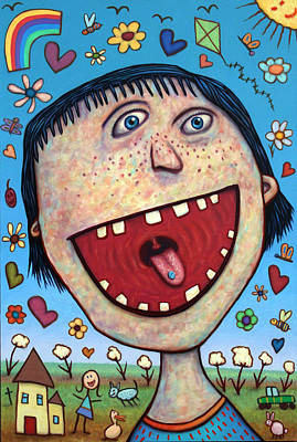 Funny Painting - Happy Pill by James W Johnson