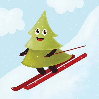 Digital Art - Happy Pine Tree On Ski by Boriana Giormova