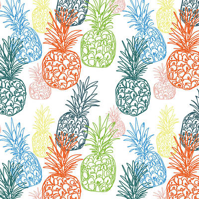 Pineapple Drawing - Happy Pineapple- Art By Linda Woods by Linda Woods