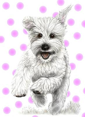Art Print featuring the drawing Happy Pink Polka Dots Doggy  by Heidi Kriel