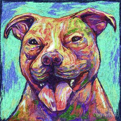 Terrier Digital Art - Happy Pit Bull by Julianne Black