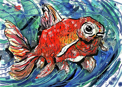 Painting - Happy Plump Goldfish by Terry Banderas