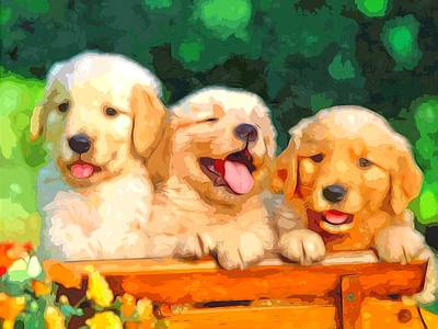 Digital Art - Happy Puppies by Maciek Froncisz