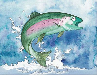 Painting - Happy Rainbow Trout by Debi Hammond