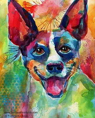 Happy Rat Terrier Watercolor Portrait Art Print