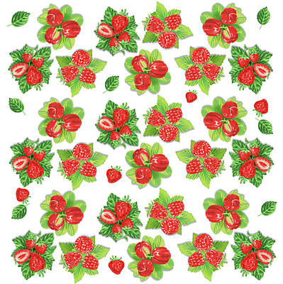 Digital Art - Happy Red Berries Pattern by Irina Sztukowski