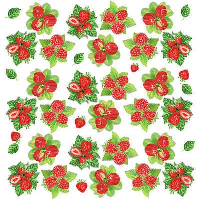 Digital Art - Happy Red Berries Pattern by Irina Sztukowski