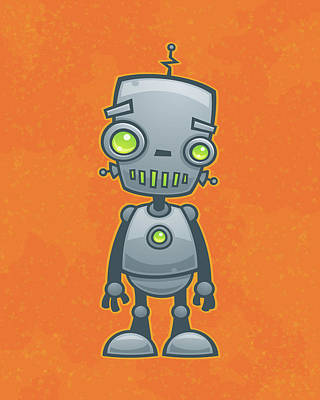 Robots Drawing - Happy Robot by John Schwegel