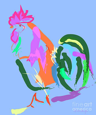 Painting - Happy Rooster by Go Van Kampen