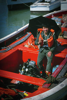 Photograph - Happy Sailor In Orange Lifeboat by Samuel M Purvis III