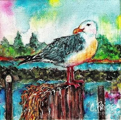Painting - Happy Seagull Perch by Cynthia Pride