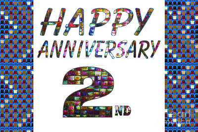 Painting - Happy Second 2nd Anniversary Celebrations Design On Greeting Cards T-shirts Pillows Curtains Phone   by Navin Joshi