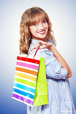 Happy Shopaholic Returning With Her Purchases Art Print