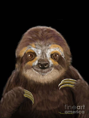 Art Print featuring the mixed media Happy Three Toe Sloth by Thomas J Herring