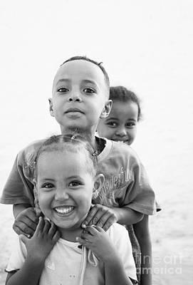 Photograph - Happy Smiling Ethiopian African Kids In Harar Near Somalia Borde by Jacek Malipan