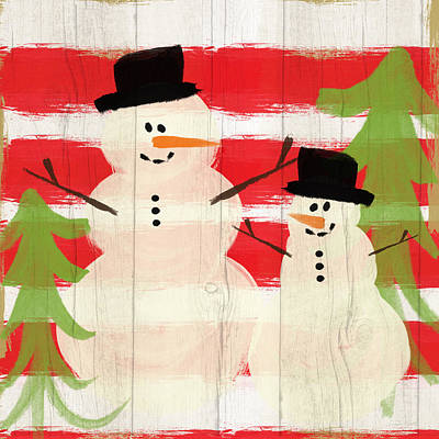 Primitive Folk Art Painting - Happy Snowmen- Art By Linda Woods by Linda Woods