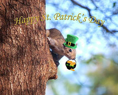 Squirrel Digital Art - Happy St. Pat's Day Card by Adele Moscaritolo