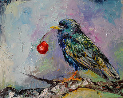 Starlings Painting - Happy Starling, Cherry And Starling Modern Original Oil Painting by Soos Roxana Gabriela