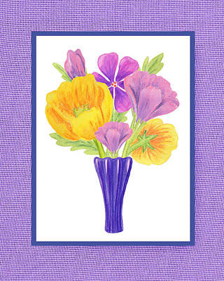 Alphabet Flash Cards Painting - Happy Summer Bouquet Sweet And Purple by Irina Sztukowski