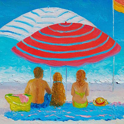 Beach Umbrellas Painting - Happy Summer Days - Beach Painting by Jan Matson