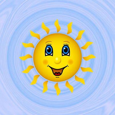 Happy Sun On Blue Sky Art Print