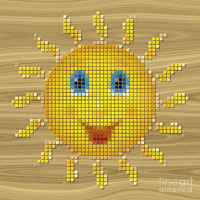 Happy Sun Pixelated Art Print