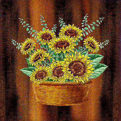 Painting - Happy Sunflowers Basket by Irina Sztukowski