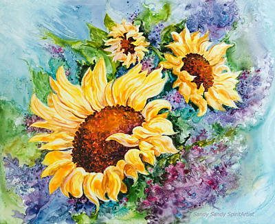 Painting - Happy Sunflowers by Sandy Sandy