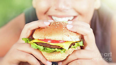 Photograph - Happy Teen Boy Eating Burger by Anna Om