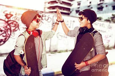 Photograph - Happy Teen Boys Outdoors by Anna Om