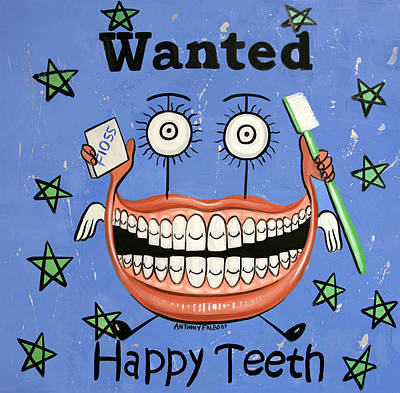 Art Paper Painting - Happy Teeth by Anthony Falbo