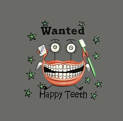 Art Paper Painting - Happy Teeth T-shirt by Anthony Falbo