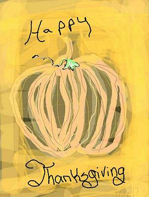 Digital Art - Happy Thanks Pumpkin by Kathy Barney