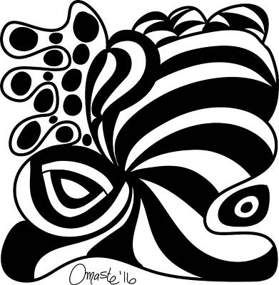 Happy Thanksgiving 2016 Abstract Black And White Art By Omashte Print by Omaste Witkowski