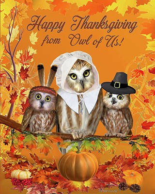 Digital Art - Happy Thanksgiving From Owl Of Us by Glenn Holbrook