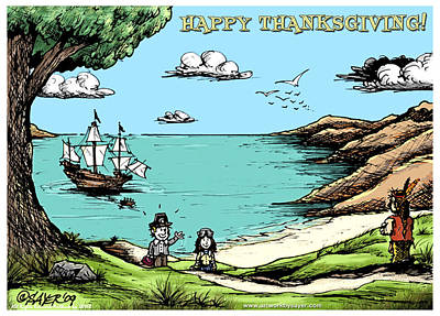 Mayflower Mixed Media - Happy Thanksgiving by James Sayer