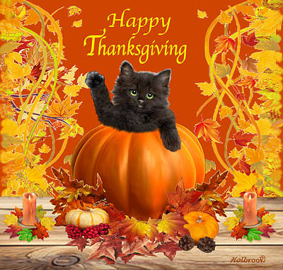 Digital Art - Happy Thanksgiving Kitty by Glenn Holbrook