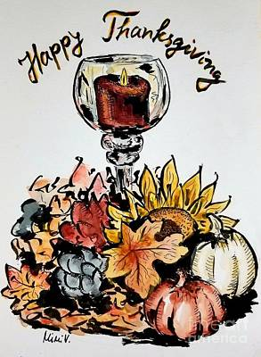 Painting - Happy Thanksgiving by Maria Langgle