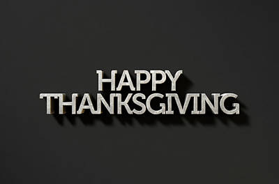 Extruded Digital Art - Happy Thanksgiving Text On Black by Allan Swart